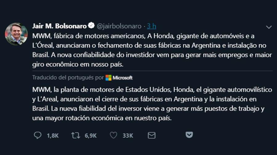 El mensaje de Bolsonaro en Twitter, que luego eliminó.