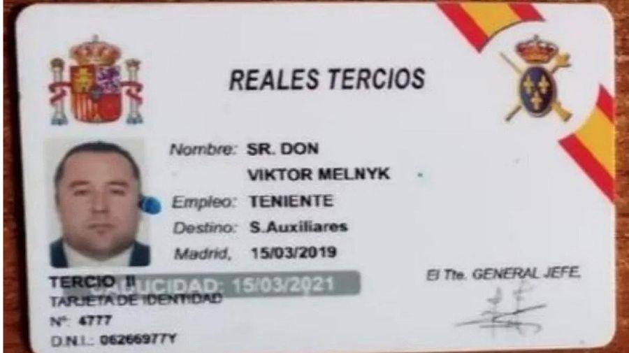 Documentación de Viktor Melnyk, el ucraniano detenido.