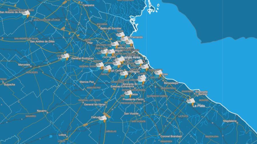 El tiempo lluvioso se extenderá a toda el Área Metropolitana de Buenos Aires. Crédito: Servicio Meteorológico Nacional
