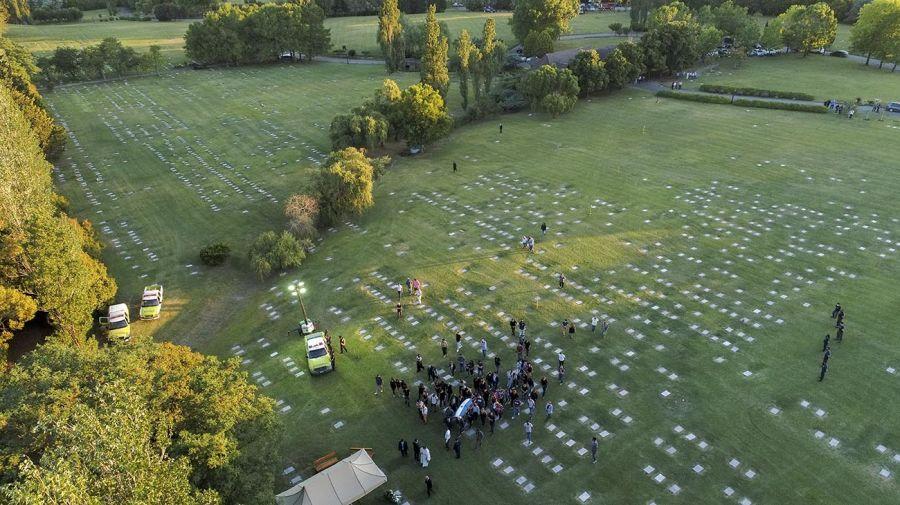 Vista aérea del cementerio de Bella Vista.