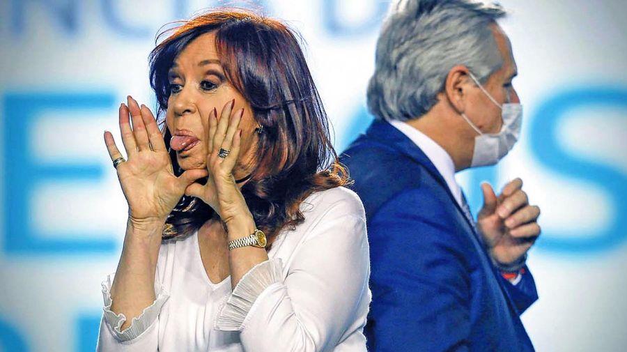 Cristina Kirchner y Alberto Fernández en el acto del viernes.