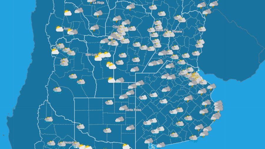 Pronostico del tiempo 4 de enero 2021. Crédito: Gentileza Servicio Meteorológico Nacional