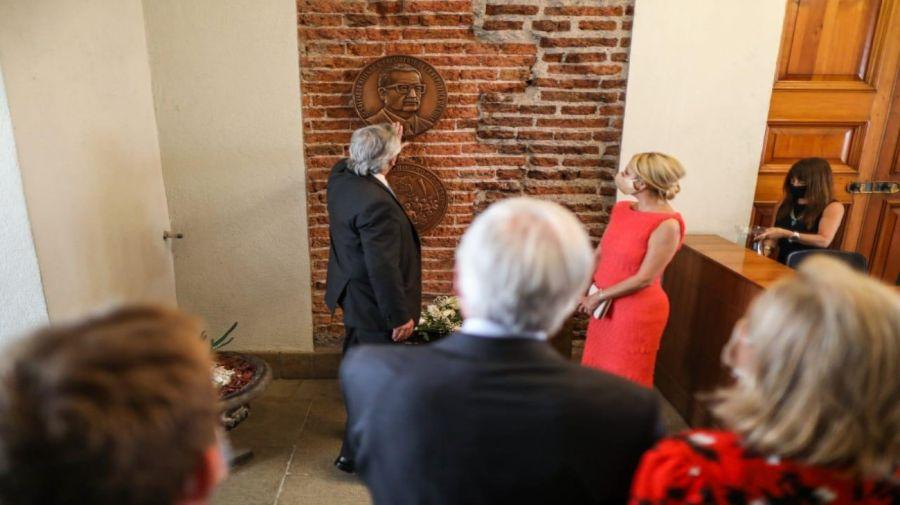 El presidente Alberto Fernández junto a Fabiola Yáñez y su par de Chile, Sebastián Piñera.