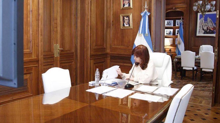 Cristina Fernández en la Audiencia vía Zoom por Dólar futuro Crédito: Cedoc Perfil