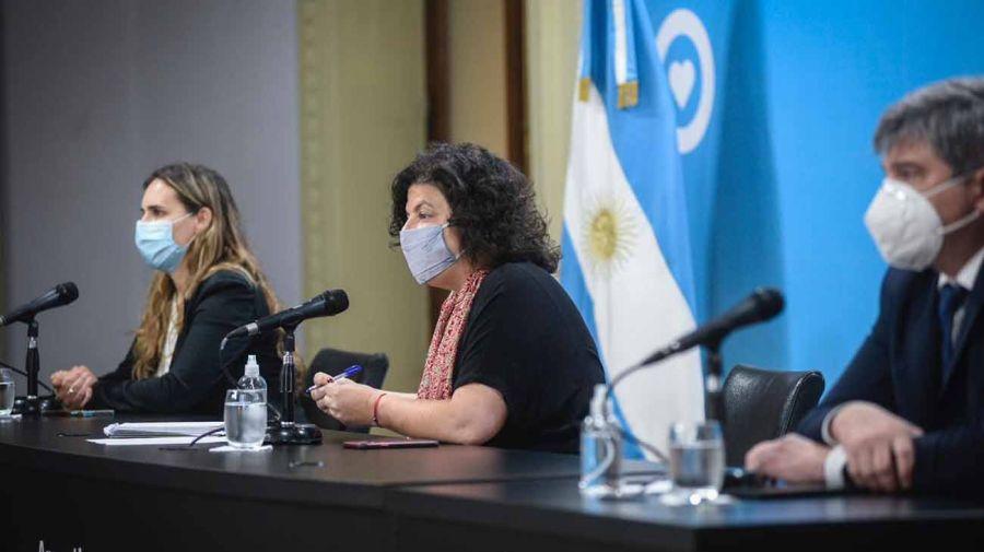 Carla Vizzotti en conferencia de prensa