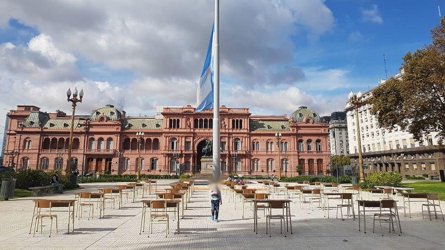 Clases abiertas en Plaza de Mayo. Crédito: Jimena Blanco