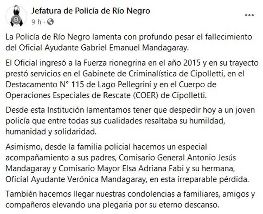 muerte de un policía en Río Negro