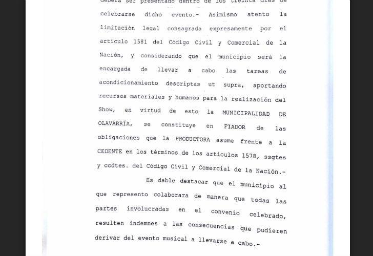 Contrato de la productora del Indio con Olavarria.