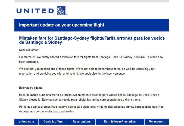 El correo electrónico en el que informaron a los usuarios de la cancelación del pasaje.