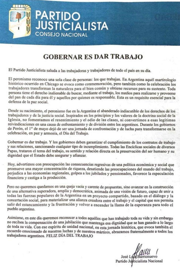 La solicitada difundida por Barrionuevo