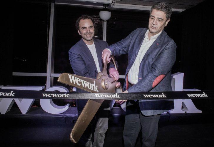 Pato Fuks y Jorge Macri encargados del corte de cinta por la inauguración de WeWork Vicente López.