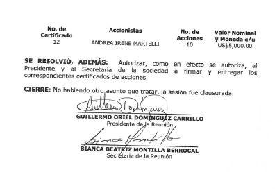 Extracto de un acta aportada por el funcionario investigado.