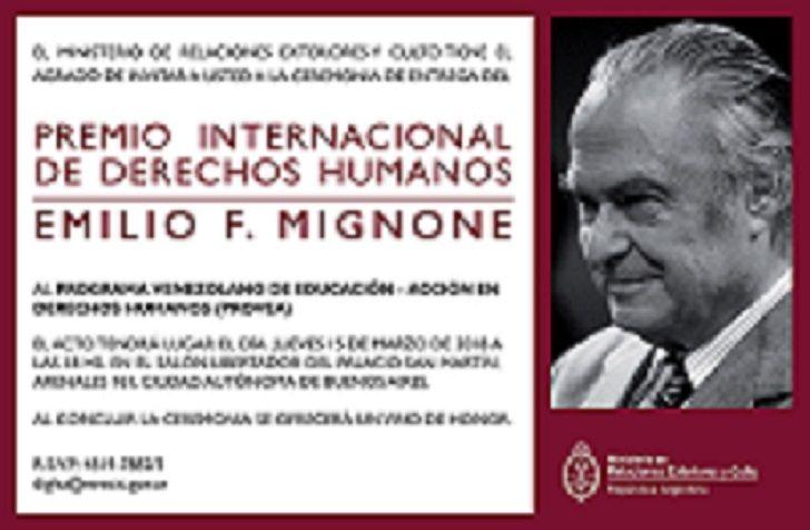 La invitación de a Cancillería argentina para la entrega del Premio Mignone a Provea que quedó desierta.
