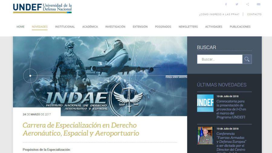 El sitio web de la la Universidad de Defensa Nacional.