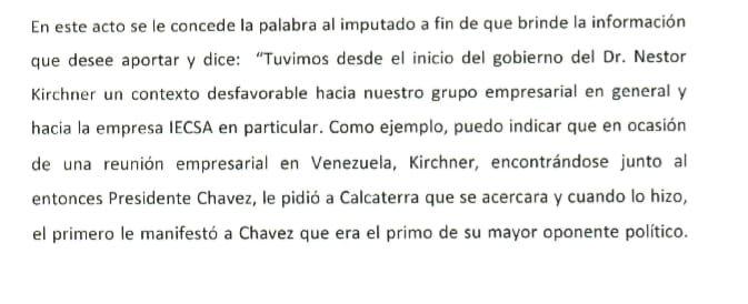 Segmento del testimonio de Sánchez Caballero, de IECSA.
