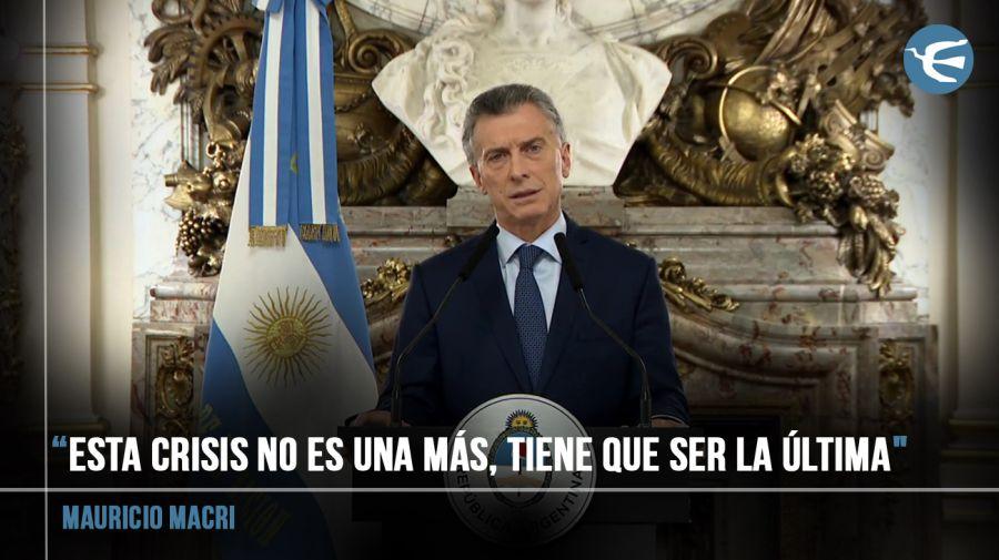 Mauricio Macri durante su mensaje grabado.