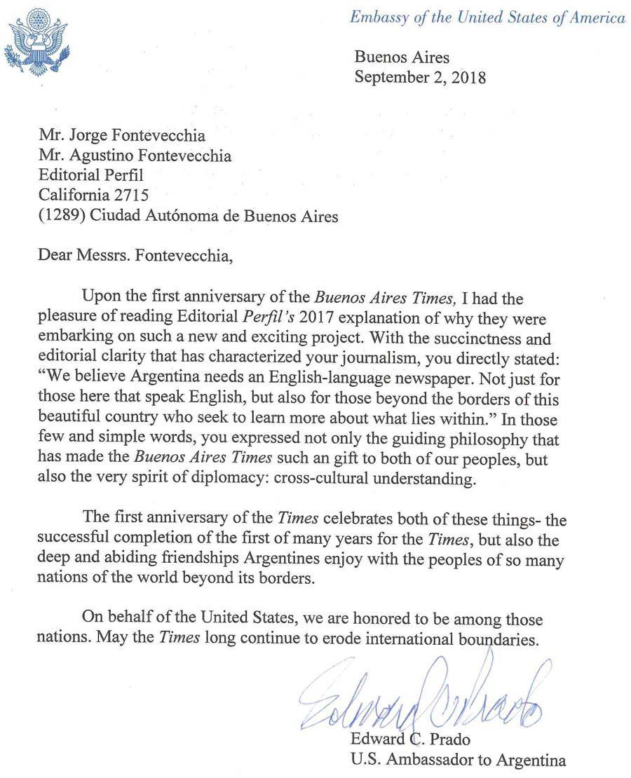 Carta del diplómatico norteamericano Edward Prado por el aniversario del Buenos Aires Times