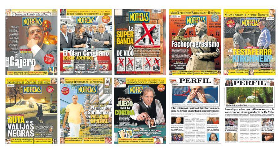 Algunas de las tapas de Noticias y Diario PERFIL denunciando a los Kirchner.