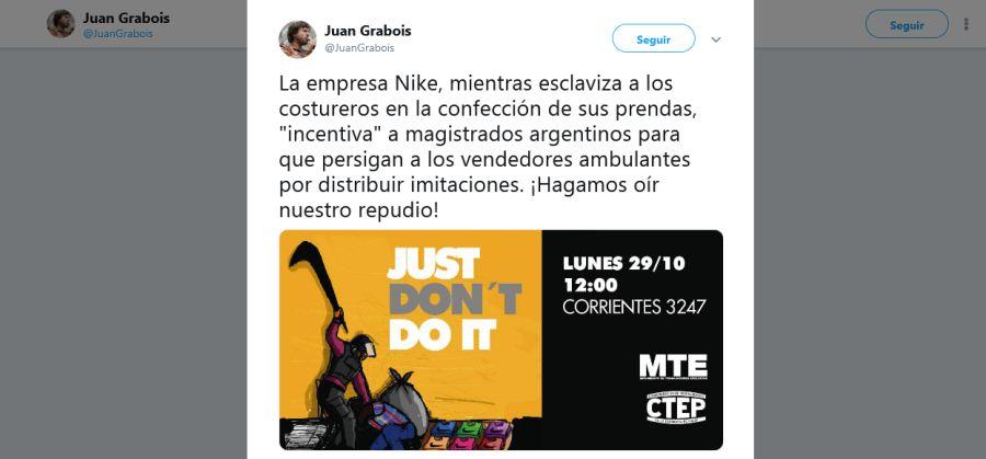 Juan Grabois twitter nike