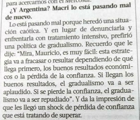 Piñera recordó lo que le dijo a Macri del gradualismo.