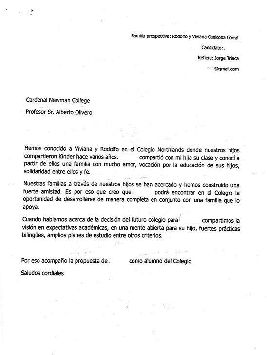 La carta de Triaca a las autoridades del Cardenal Newman. Fuente: La Nación.