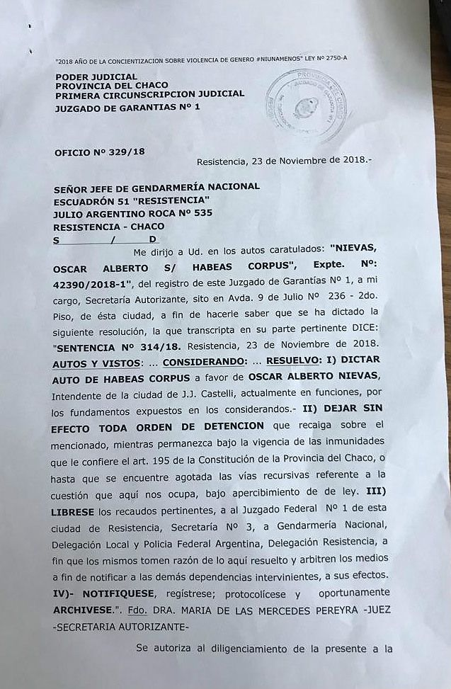 El fallo de la jueza Pereyra, ordenando que no se detenga al intendente Nievas.