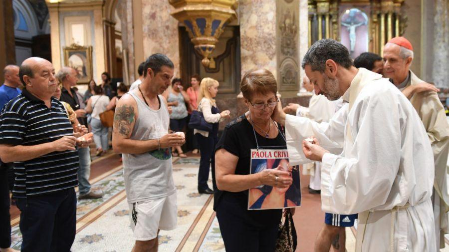 De la misa participaron el arzobispo coadjutor de San Juan, Jorge Lozano, y el cardenal de Buenos Aires, Mario Poli. Foto: Télam.