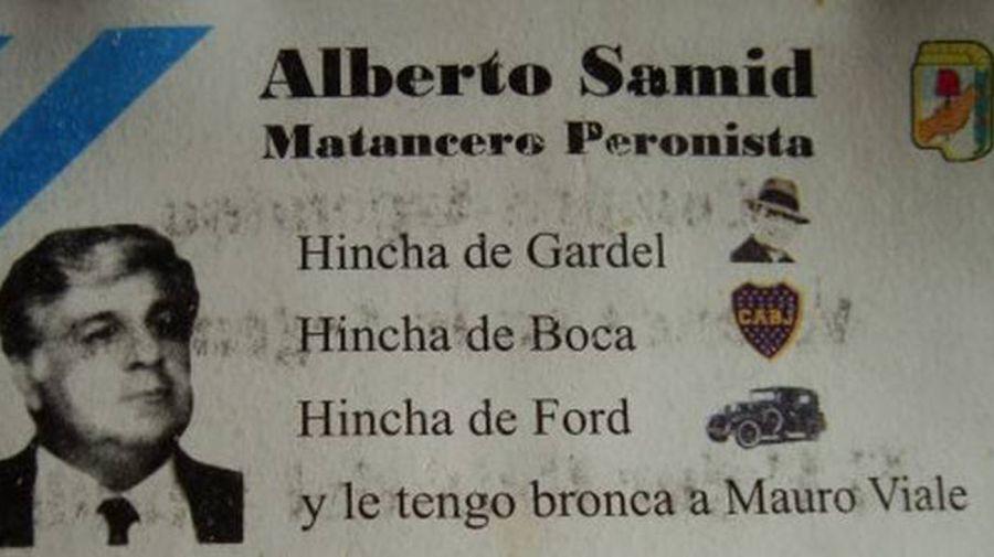 La tarjeta personal de Alberto Samid