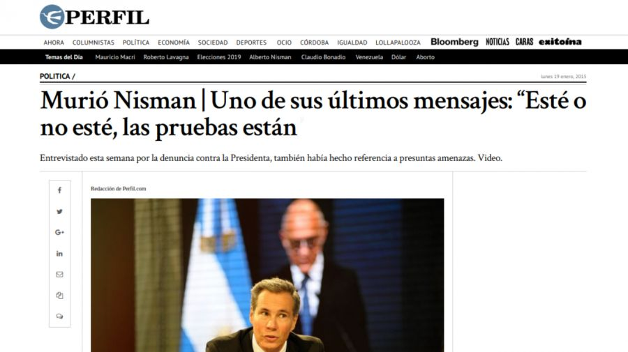 perfil informa muerte de nisman 2015