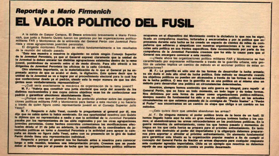 Documento de 'El Descamisado': Firmenich exaltando la violencia extremista.