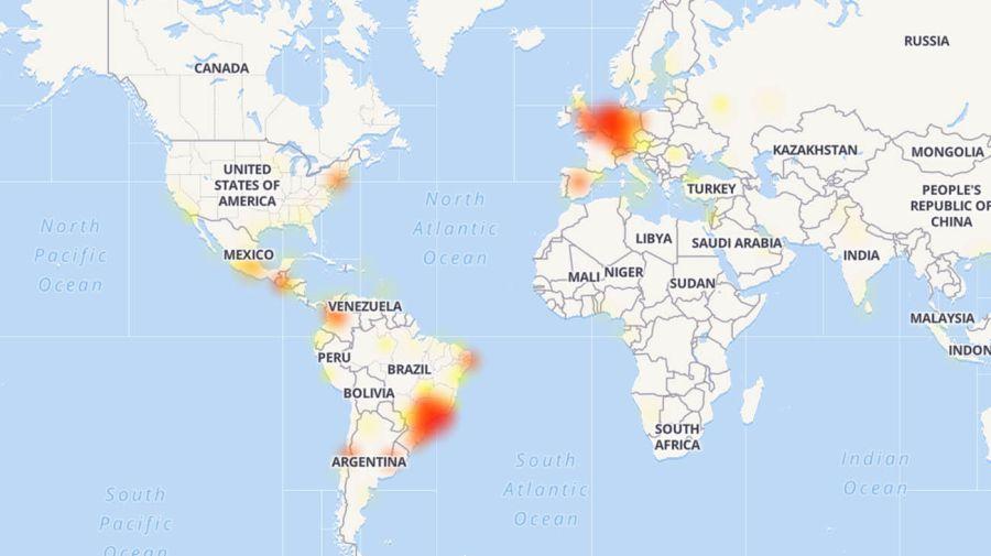 Mapa de la caída del servicio de Whatsapp. Fuente: Downdetector.