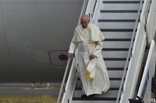 El Papa llegando a Panamá.