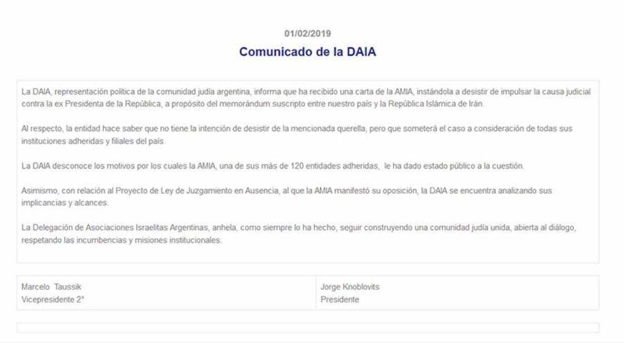 Comunicado de la DAIA 02012019