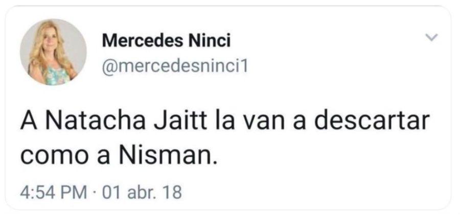 Mercedes Ninci tuit