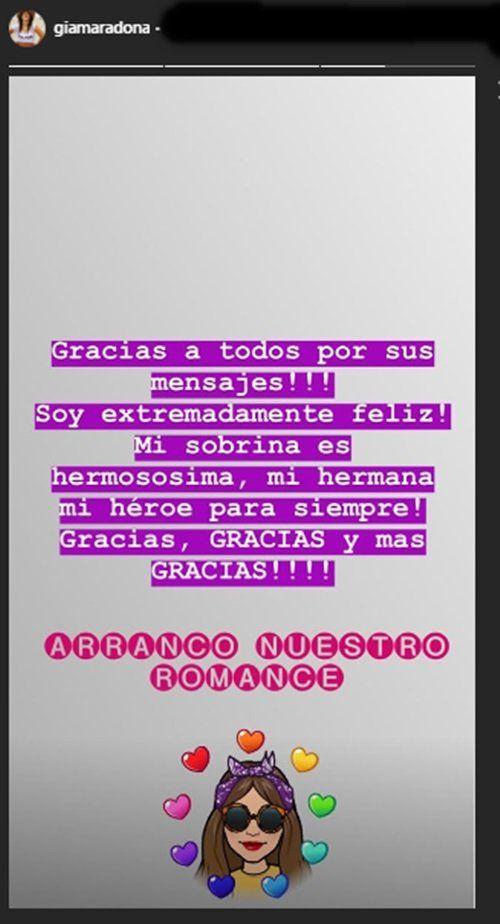 El mensaje de Gianinna Maradona tras el nacimiento de su sobrina
