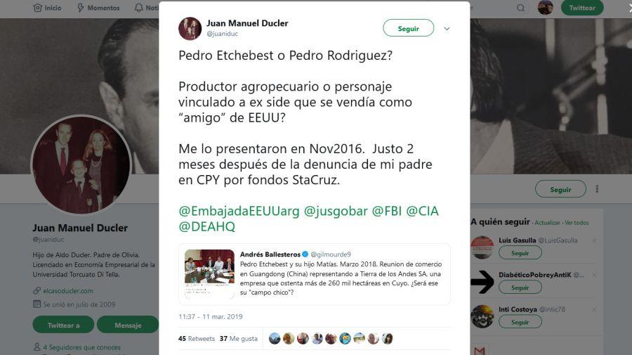El tuit de Juan Manuel Ducler.