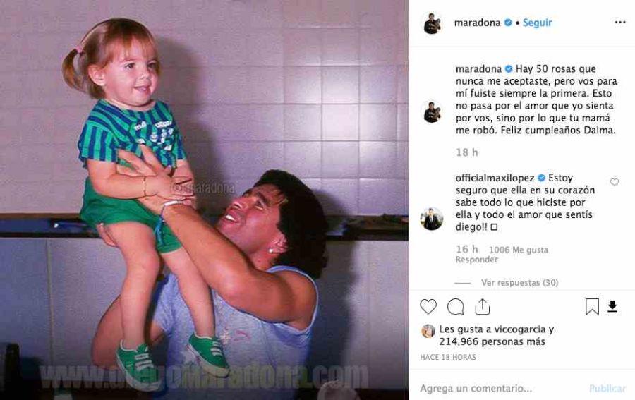 Maxi López apoyó a Diego Maradona.