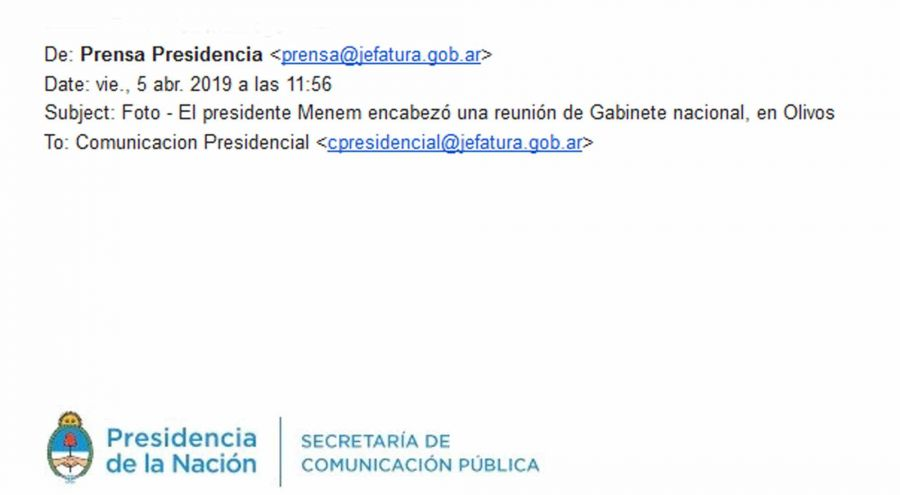 Mail Presidencia de la Nación 04052019