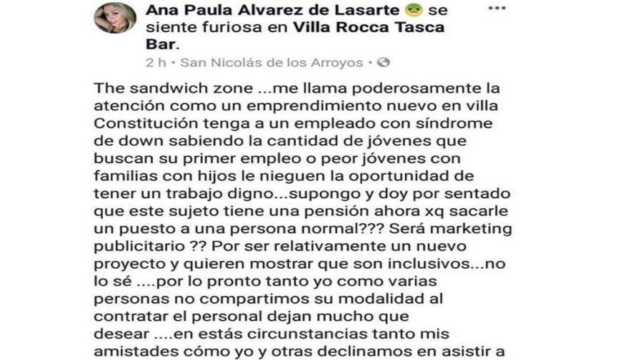 Una joven se quejó en Facebook porque fue atendida por un joven con síndrome de Down.