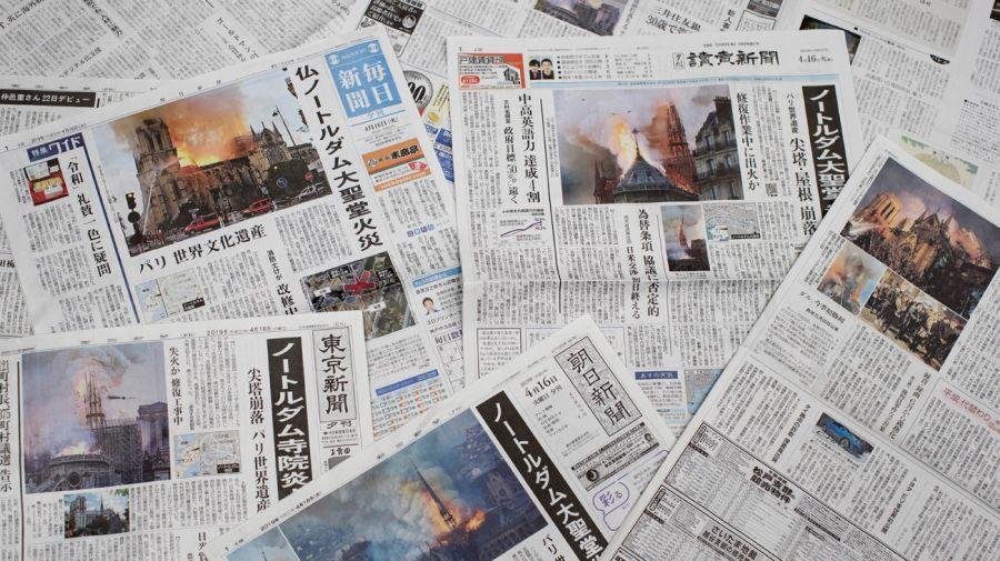 Los diarios de todo el mundo reflejaron la tragedia de la catedral de Notre Dame