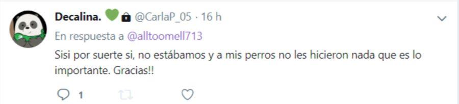 Tuits de Carla Pastorizzo tras el robo en su casa de Gualeguaychú.
