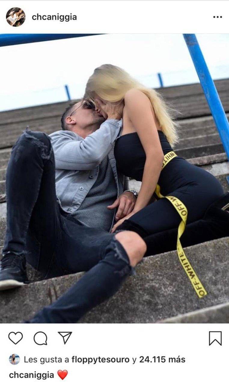 Charlotte Caniggia compartió una fogosa foto chapando con su novio