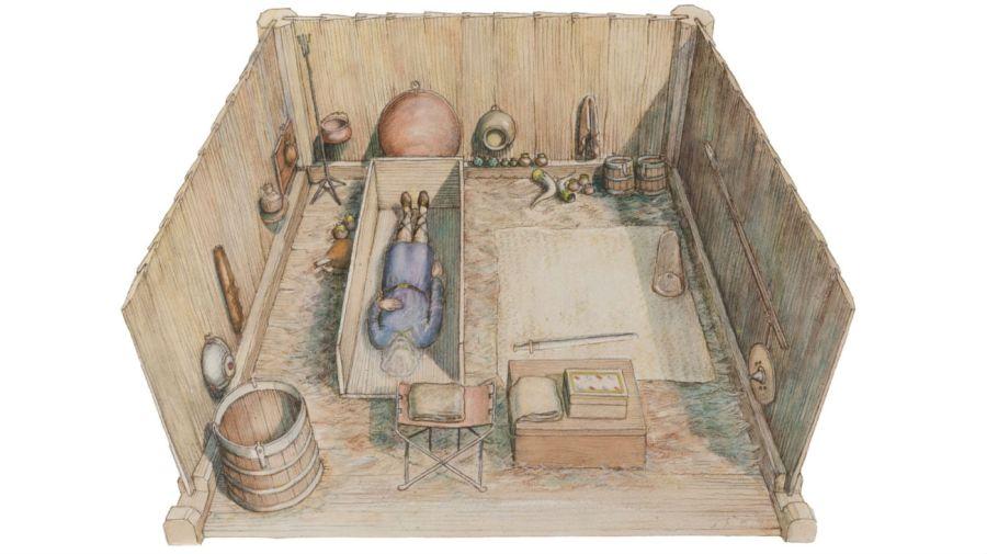 Una representación de cómo era la cámara funeraria según los investigadores.