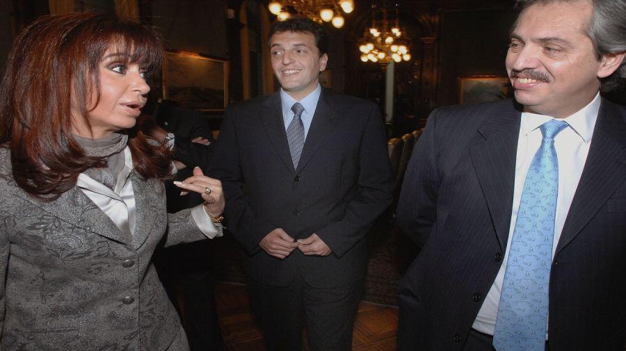 Cristina Kirchner con Sergio Massa y Alberto Fernández cuando eran parte del mismo gobierno.