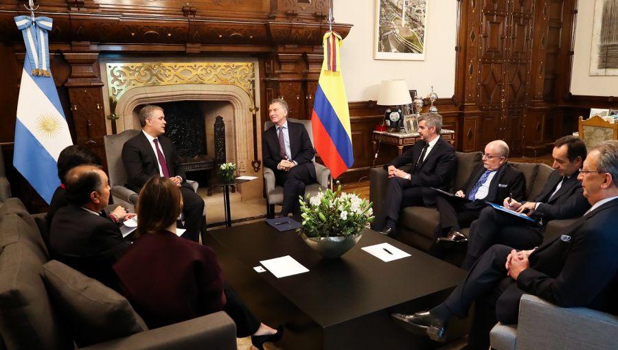 Mauricio Macri e Iván Duque en reunión de trabajo