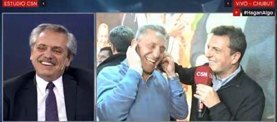 Sergio Massa y Alberto Fernandez en la transmisión de C5N.
