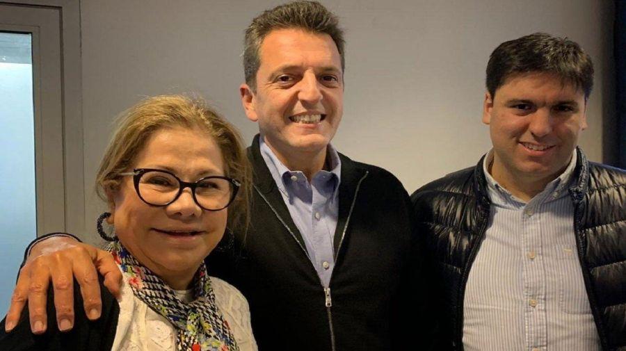 Graciela Camaño, Sergio Massa y Diego Bossi en Chubut.