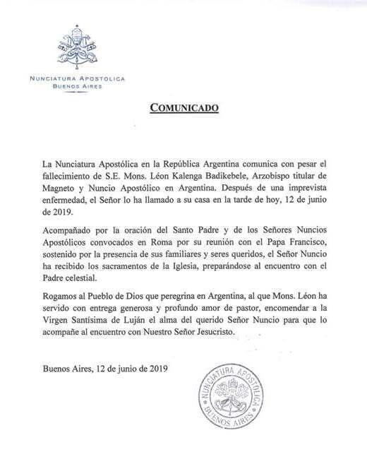 Comunicado de la Nunciatura Apostólica en Argentina por la muerte de León Kalenga.