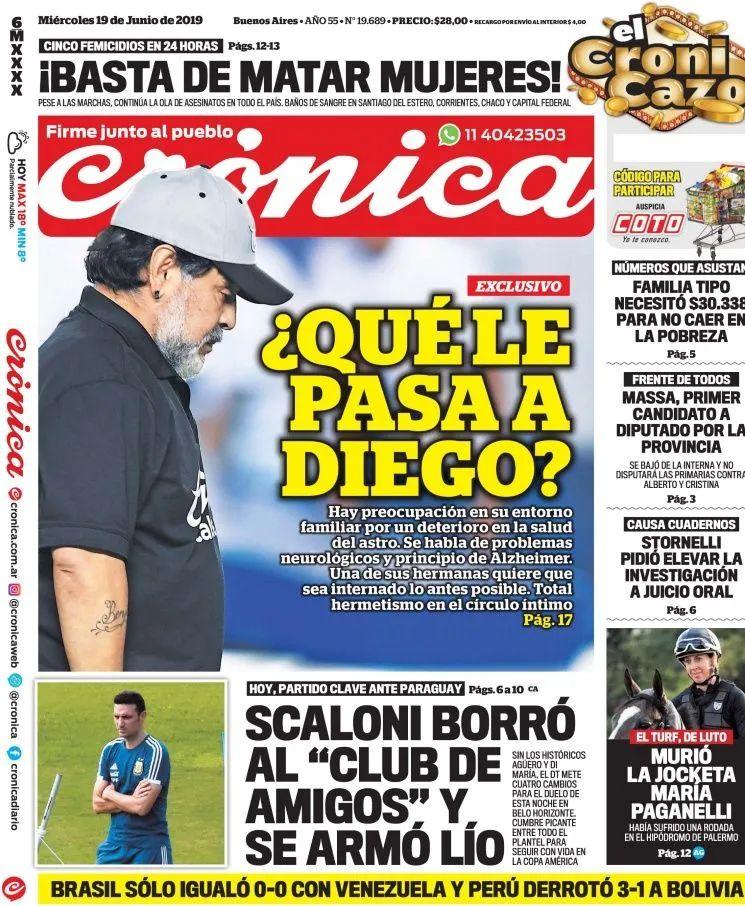 tapa Crónica sobre la salud de Maradona
