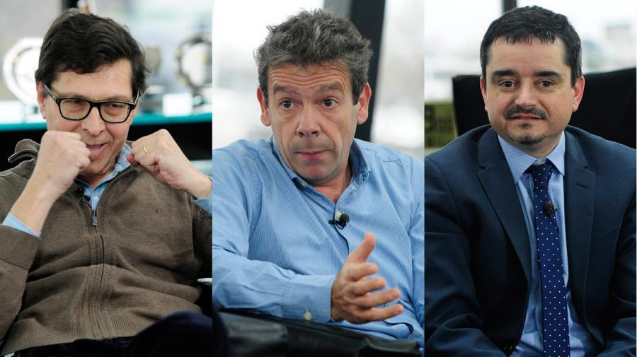 Los periodistas Fernando Ruiz, Martín Becerra y José Crettaz, en la entrevista con Fontevecchia.